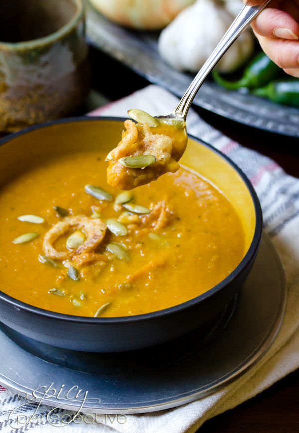 Must try! Spicy Pumpkin Soup Recipe ~ Healthy Soup Recipe — via A Spicy Perspective