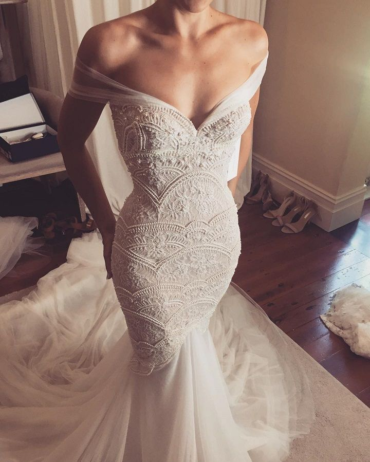 Fine detailing and beadwork - stunning bridal gown! #love #wedding #bride #detail #beading #fishtail #amazing
