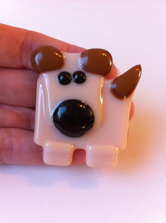Dog Magnet Fused Glass Magnet Refrigerator by LaRocheStudios