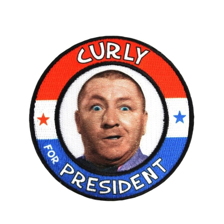 Three Stooges Iron On Patch Curly For President