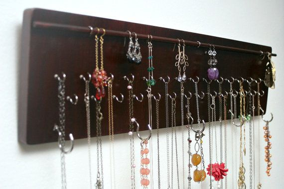 Wall Mounted Jewelry Organizer Mahogany Wood Finish By