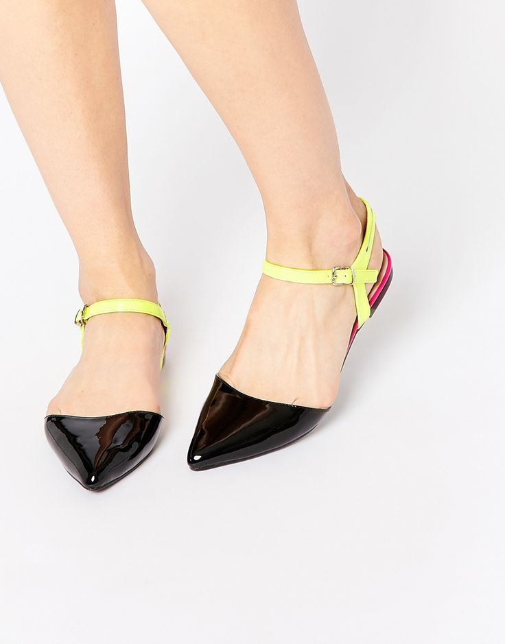 Image 1 of ASOS LEAH Pointed Two Part Ballet Flats