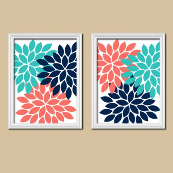 Coral Turquoise Navy Wall Art Flower Wall Art Bedroom by TRMdesign
