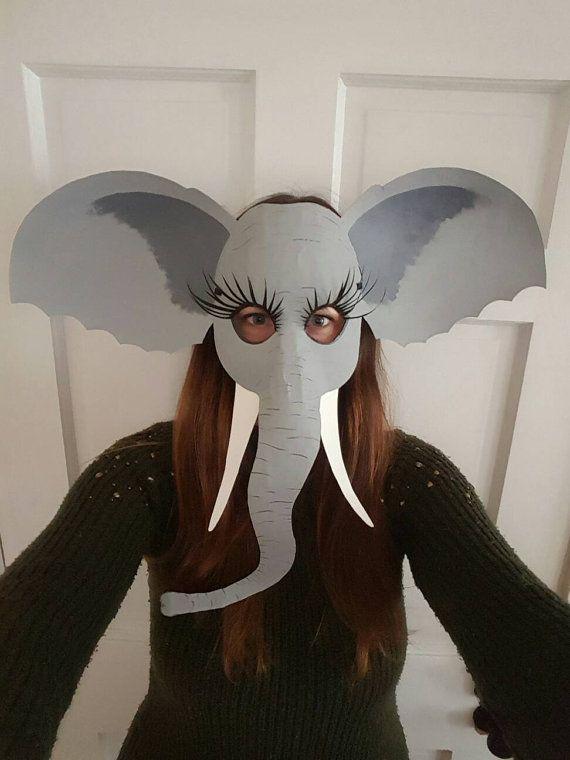 Elephant mask Elephant costume by HighMoonCreations on Etsy