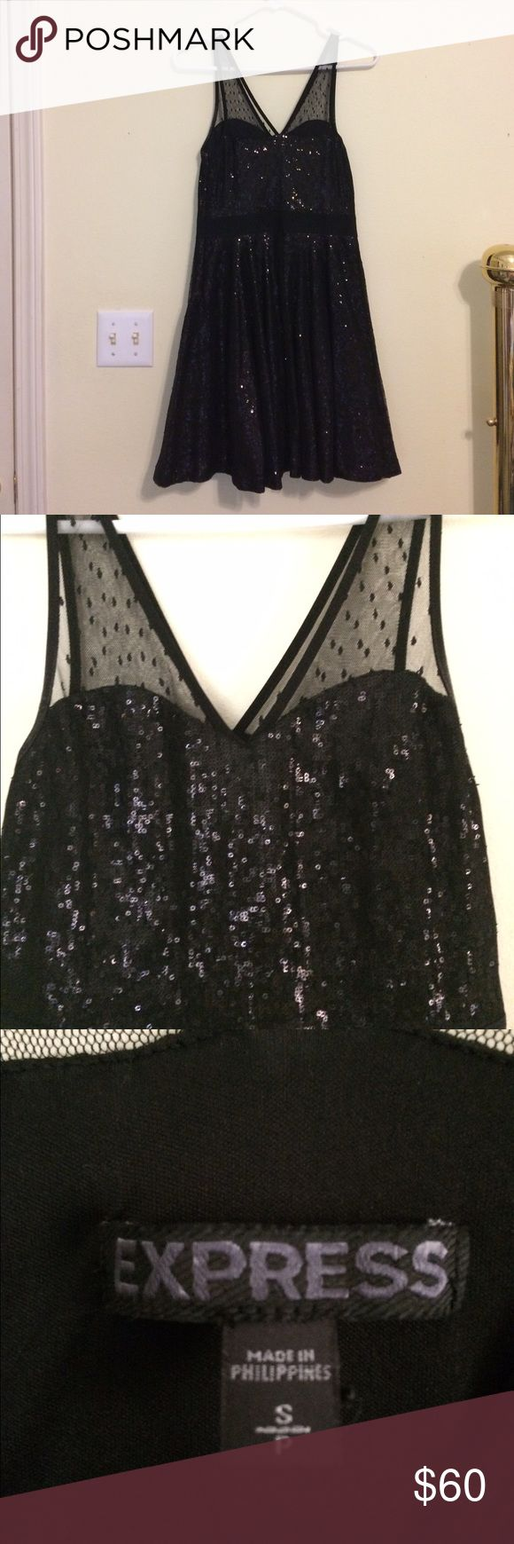 Express Black Sequin Dress, small Black sequin dress from Express with elastic stretch waistband and sheet polka dot shoulder straps. Size small. Perfect condition Express Dresses Mini