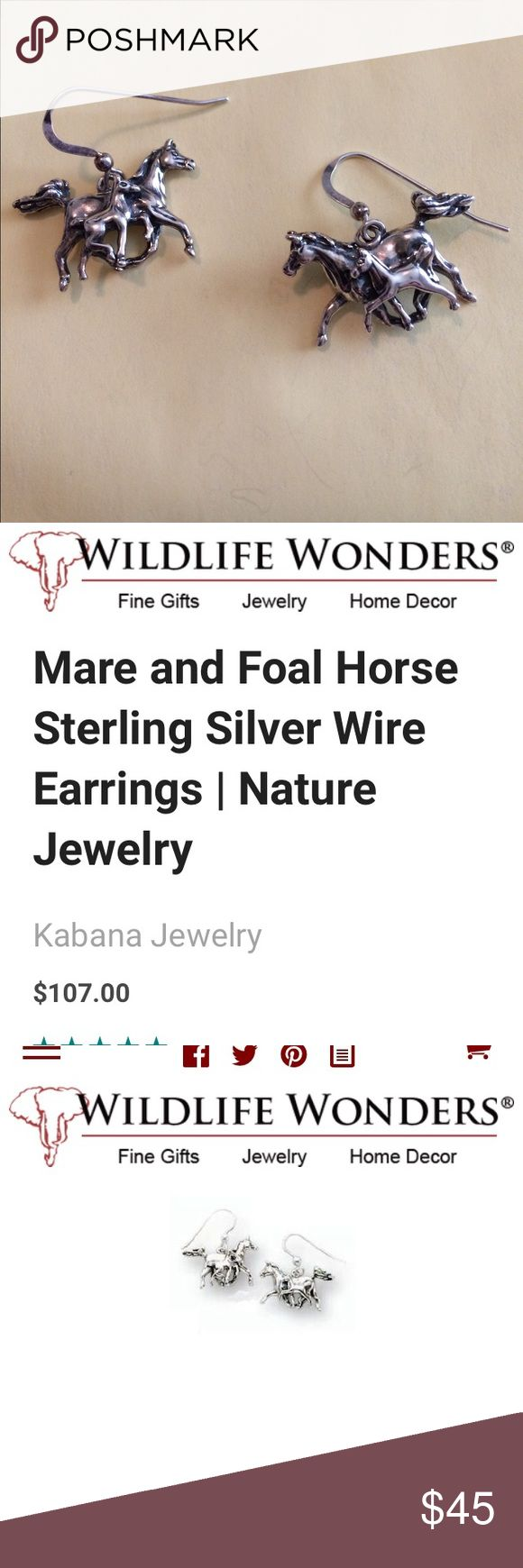 Mate & Foal horse earrings. These exquisitely detailed Mare and Foal Horse Wire Earrings in Sterling Silver from Kabana Jewelry offer a unique and heartwarming expression of natural beauty that goes with any look or social engagement. The mother and baby horses are rendered in marvelous .925 sterling silver by the artists of Kabana to create a singular fashion accent and showcase of your love for these graceful and loyal creatures. Each piece is handcrafted with pride in the USA, and makes a…