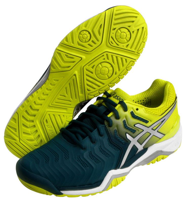 Asics Gel Resolution 7 Men's Tennis Shoes Racquet Indoor Blue Green  E701Y-4589