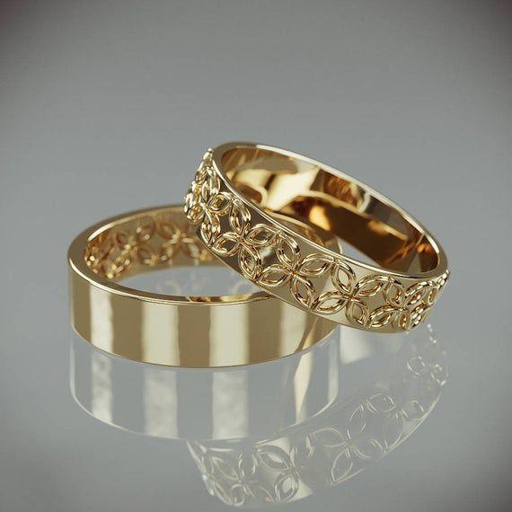 14k Gold Celtic Flower Wedding Rings Set Handmade 14k Gold Celtic Flower Wedding Rings His And Hers Wedding Bands Set Anillos De Boda Anillos De Casados Diseños De Anillos