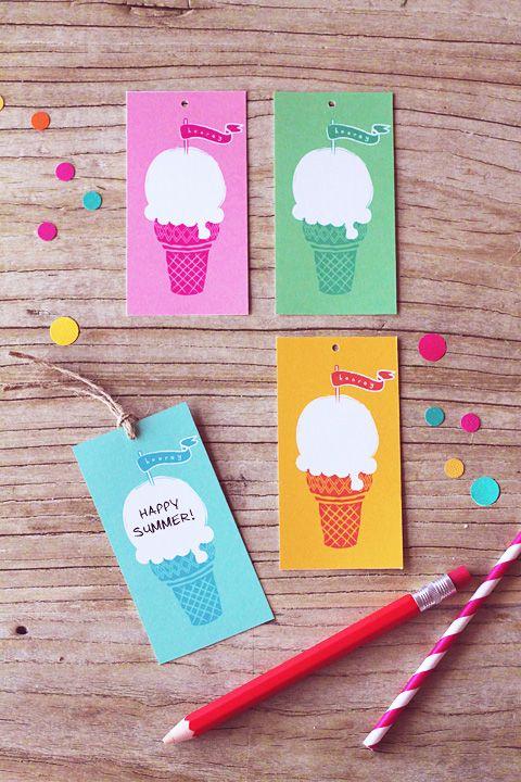 Free Ice-Cream Gift Tags » Eat Drink Chic: Ice Cream Parties, Summer Parties, Summer Gifts, Summer Ice Cream, Cream Tags, Free Printable, Gifts Tags, Icecream, Ice Cream Cones
