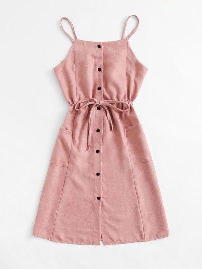 Single Breasted Drawstring Waist Pocket Side DressFor Women-romwe