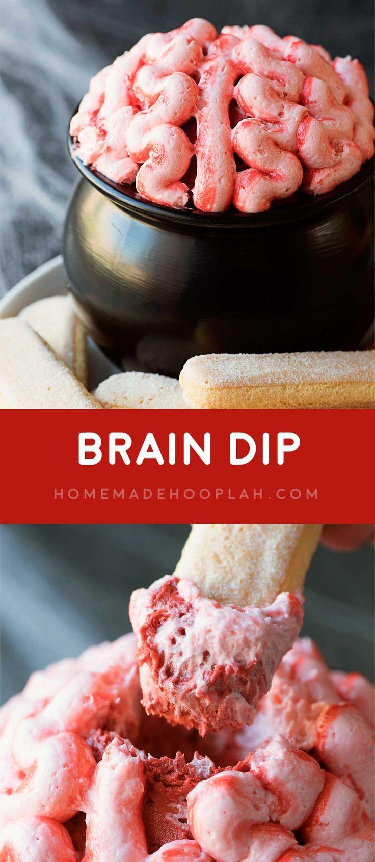 Brain Dip! This creepy brain dip is as tasty as it is fun! Red velvet ...