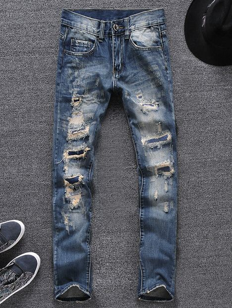 Men's Blue Skinny Ripped Jeans for men Denim