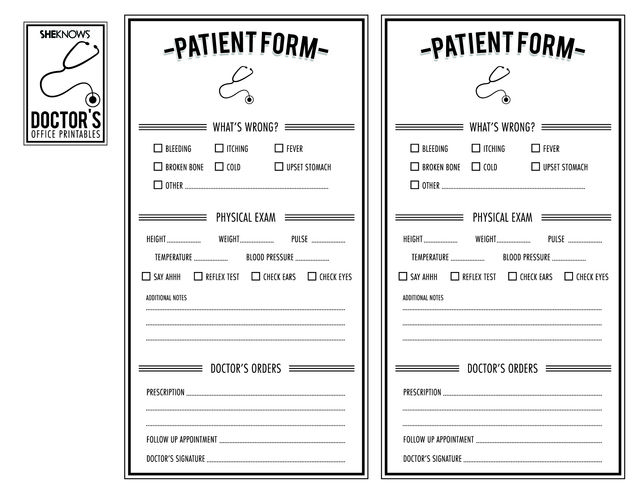 free printables for pretend play, like doctor's patient form.  I think my beginning reader will love these.