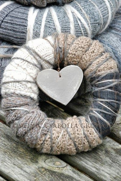 Woolen Wreaths and Re- Launching my Handmade Shop! They are lovingly made with upcycled sweaters and wool yarn, at times paired with plaid woolen fabrics and vintage or antique lace scraps.
