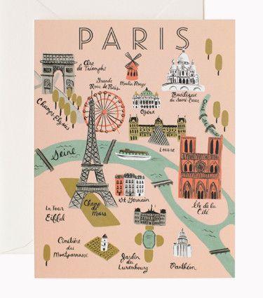 Rifle Paper Co Greeting Card - Paris Map   Pony Lane
