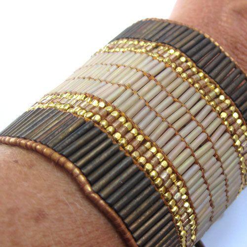 bracelet manchette femme ado cuir et perles nakamol 30. Black Bedroom Furniture Sets. Home Design Ideas