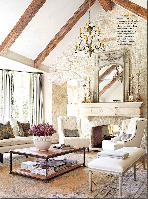 Could do doorway to left of fireplace vault ceiling add beams face stone the fireplace wall for French country decorating ideas for living rooms
