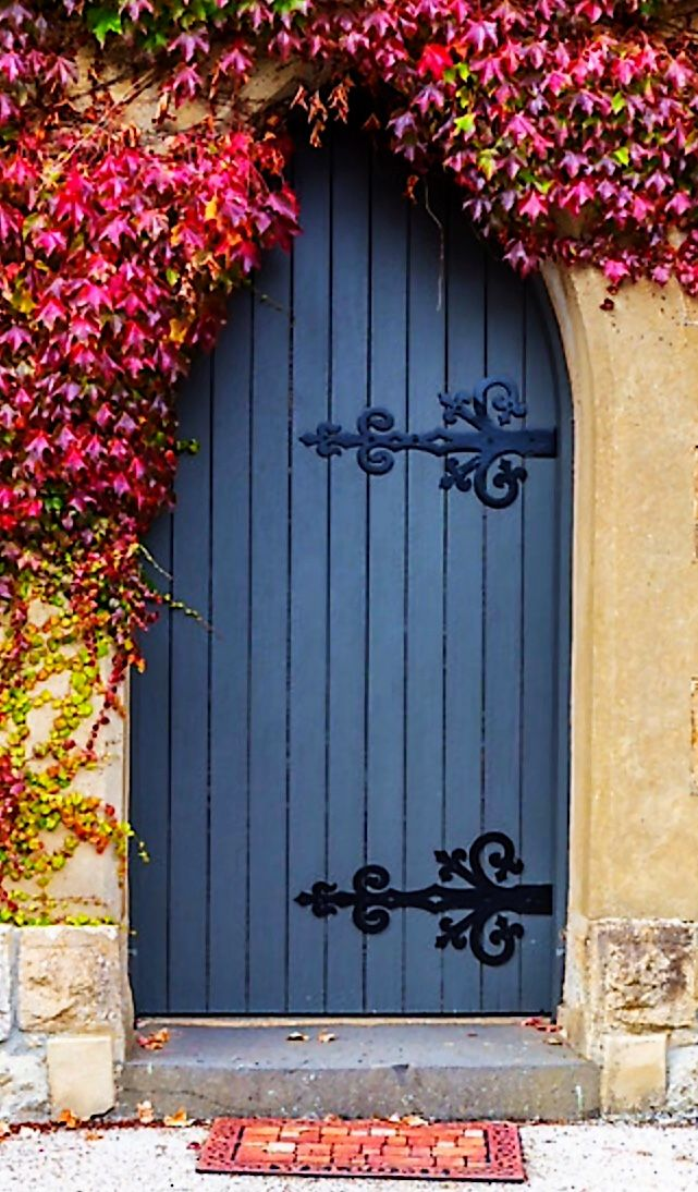 Mount Macedon, Victoria, Australia. Beautiful blue door with wrought iron hinges and vines