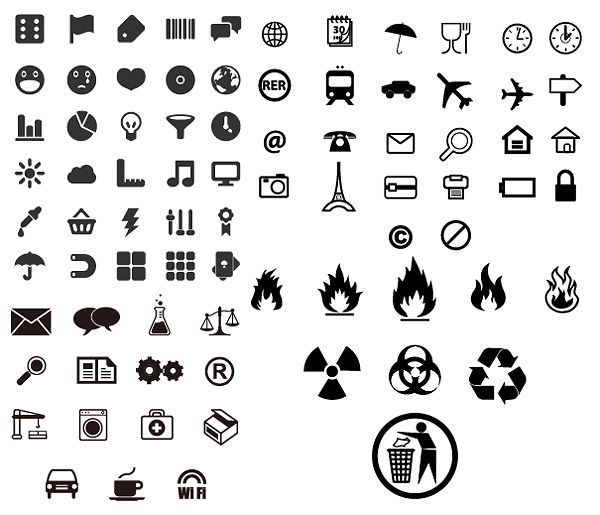 Utility marking of small icons vector