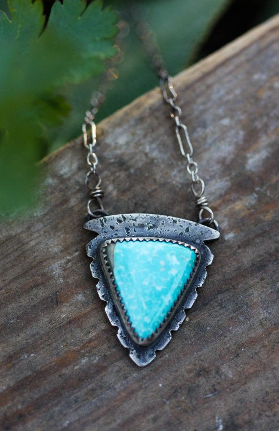 Natural Turquoise Necklace. Handmade Arrowhead by AppaloosaDesigns