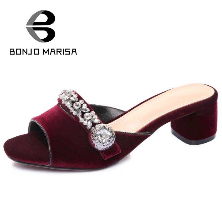 Rhinestone Women Slippers Vintage Chunky Heels Flock Summer Shoes Woman  Open Toe Platform Slides Big Size