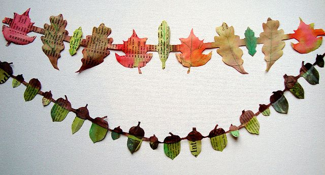 paper  leaves and acorns by mayalu, via Flickr, mayamade