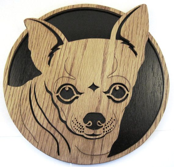 Chihuahua dog face wall plaque scroll saw cut--12df
