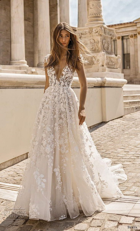 berta fall 2019 bridal cap sleeves deep v neck full embellishment romantic a lin…