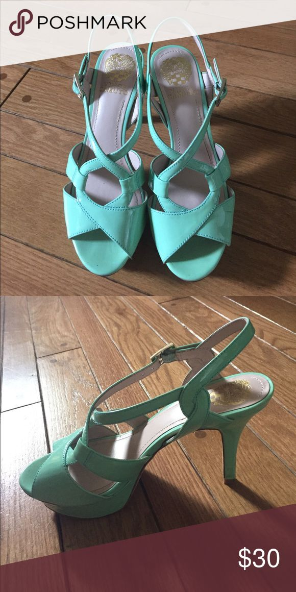 Vince Camuto Sea foam Green Strappy Heel Like New, Very comfortable and fun Vince Camuto Heels in sea foam green. Open toe with straps for support and design. Size 7 and good for those with wide feet since straps are very adjustable and arch has support. Vince Camuto Shoes Heels