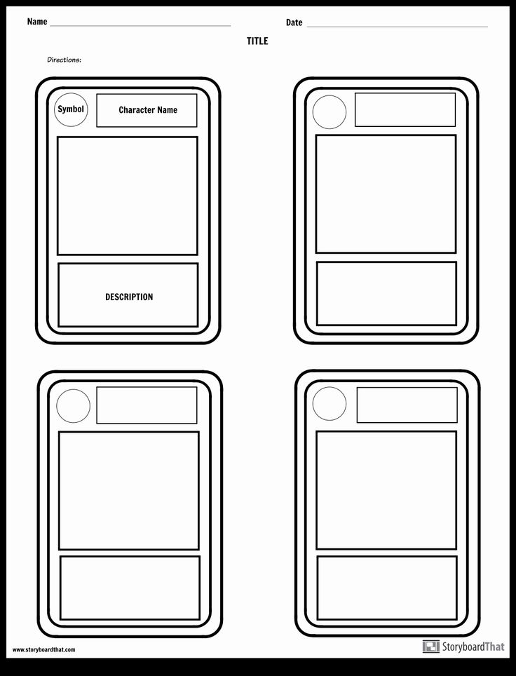 Trading Card Template Free New Character Trading Cards Storyboard By Worksheet Templates Trading Card Template Diy Trading Cards Baseball Card Template