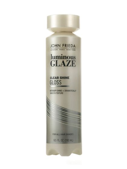 John Frieda Clear Shine Luminous Glaze: It's like a topcoat for your hair—one dose gives glossiness that lasts a week,