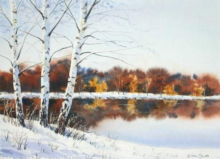 How to Paint White on White - Paint Silver Birches in the Snow by Gwen Scott