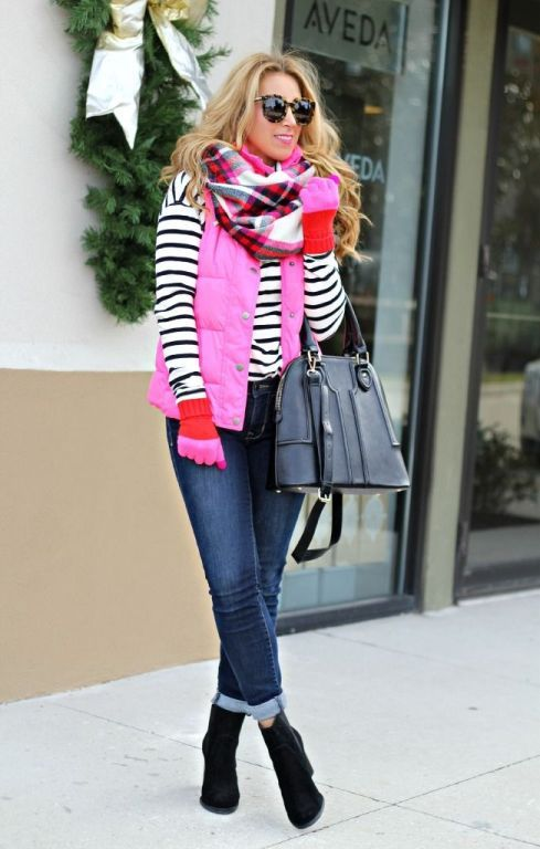 hot pink puffer vest with stripes, Winter outfits ideas in pop colors http://www.justtrendygirls.com/winter-outfits-ideas-in-pop-colors/