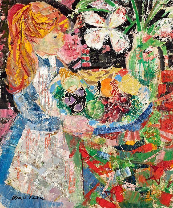 Girl with Fruits.  Emilio Grau Sala