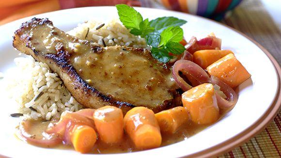 Panfried Pork Chops in a Mustard-Orange Sauce