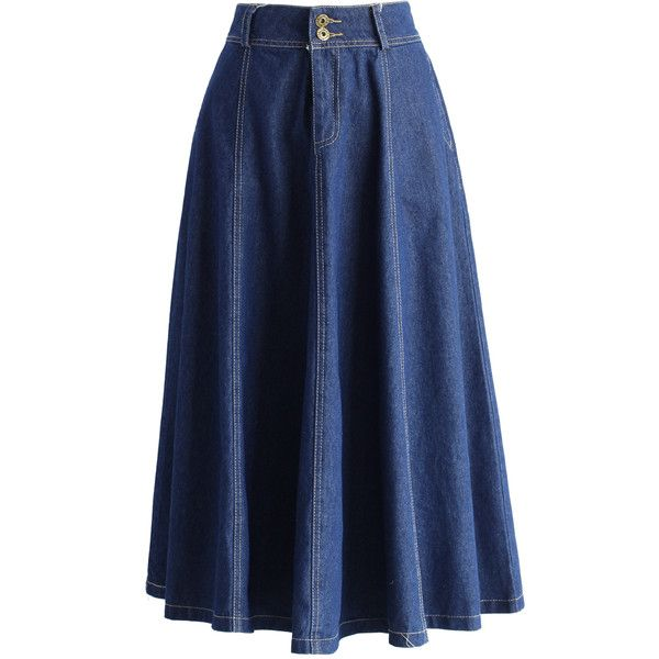 Chicwish Swing Denim A-line Midi Skirt (€34) ❤ liked on Polyvore featuring skirts, blue, bottoms, a-line skirts, a line midi skirt, denim midi skirt, mid calf denim skirt and a line denim skirt