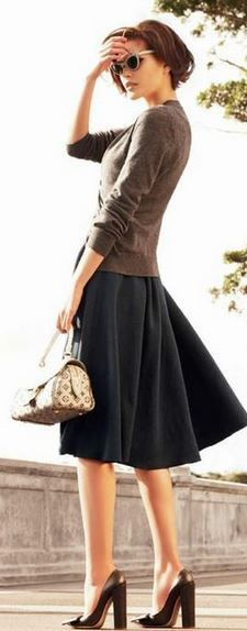 cardigan, clunky heels + A-line skirt classic # Louis Vuitton Handbags