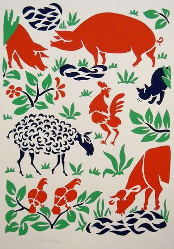 Farm animals - Stencilprint