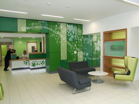 Ferndene NHS reception area - screen-print