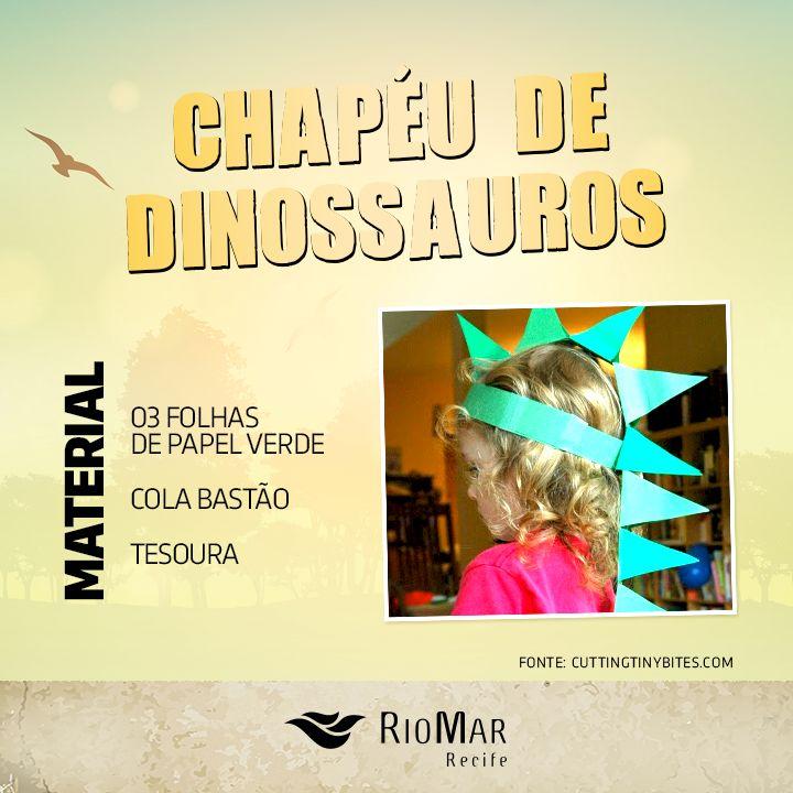 Dica de como criar um chapéu de dinossauros simples, para brincar com as crianças em casa. DIY de brincadeiras infantis!