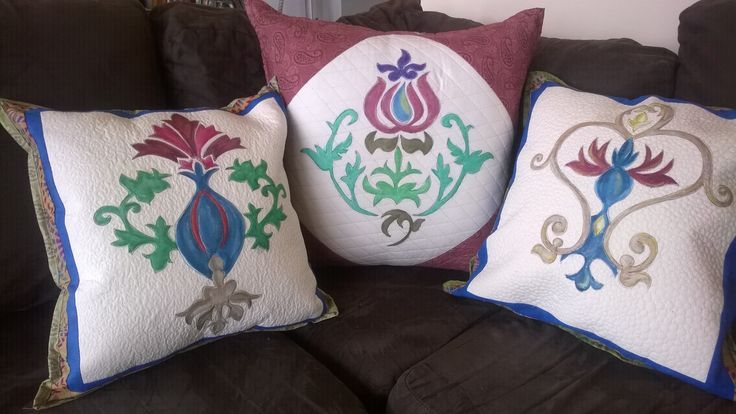 Cushion covers based on William Morris designs, painted with Inktense blocks, trapunto and quilted