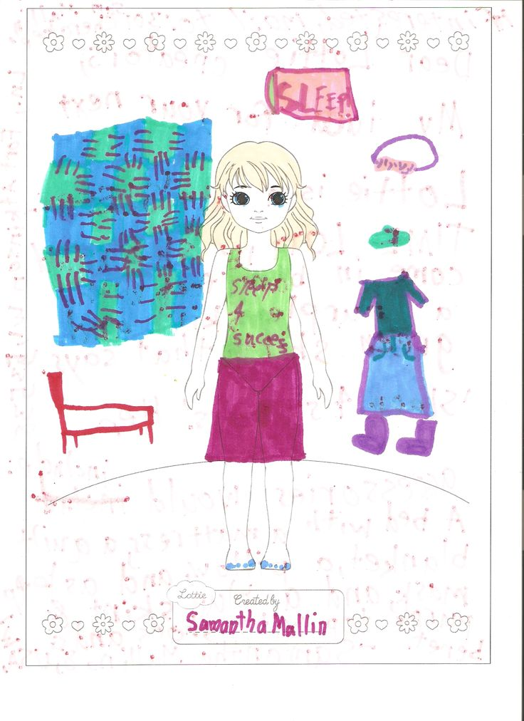 """Lottie Outfit Design Competition Samantha (age 8) - has an idea for the next Lottie; a cute SLEEPY TIME LOTTIE. She would come in bare feet with a purple skirt and green shirt that says """"Sleep 4 Success."""" Her accessories would include: A bed with a mattress, a quilt blanket, a pillow, and a sleep mask. She would also have a blue skirt and purple top with shoes and a beret. Great work Samantha! :)"""
