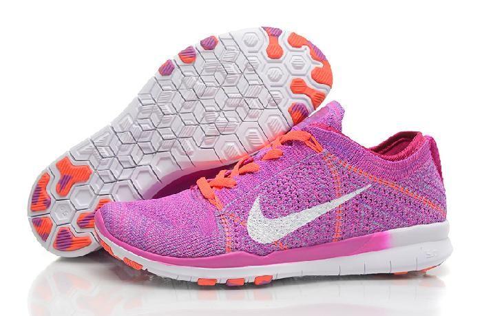 Billige Nike Free 5.0 Flyknit Lilla Oransje Hvit Running Sko for Dame  468.09kr