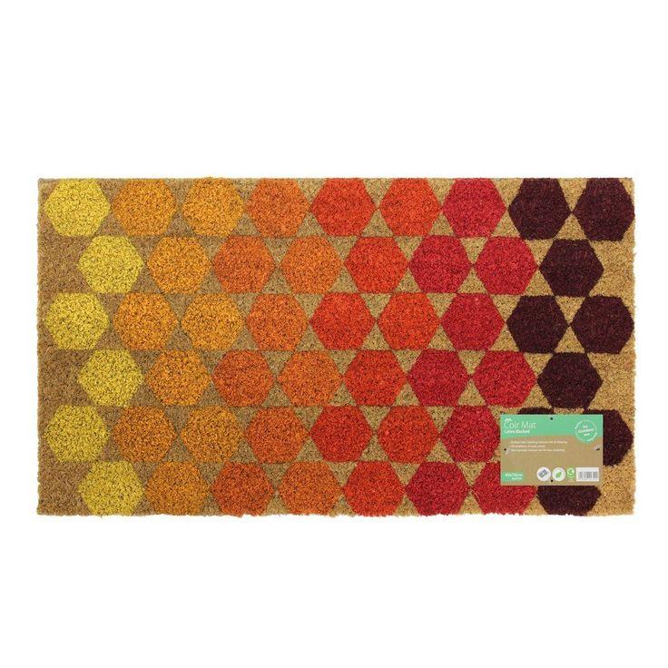 JVL Bright Prints Latex Backed Coir Entrance Door Mat Hexagon Design, Brown, 40 x 70 cm: Amazon.co.uk: Kitchen & Home