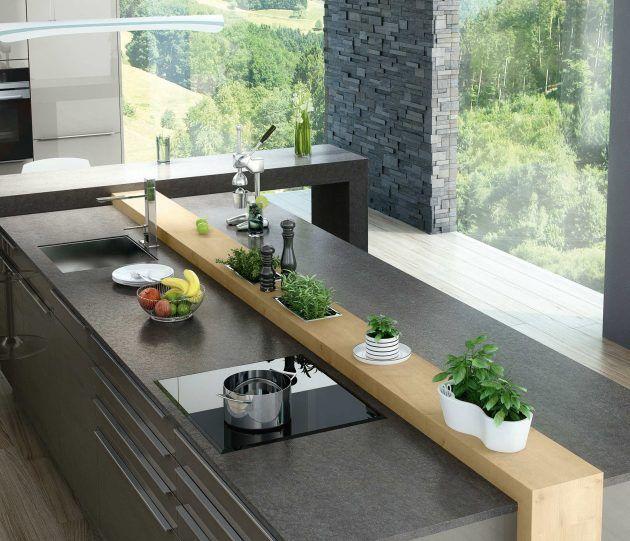 Große Kochinsel mit Kräutern * ausgefallenes Küchendesign * graue Arbeitsplatte