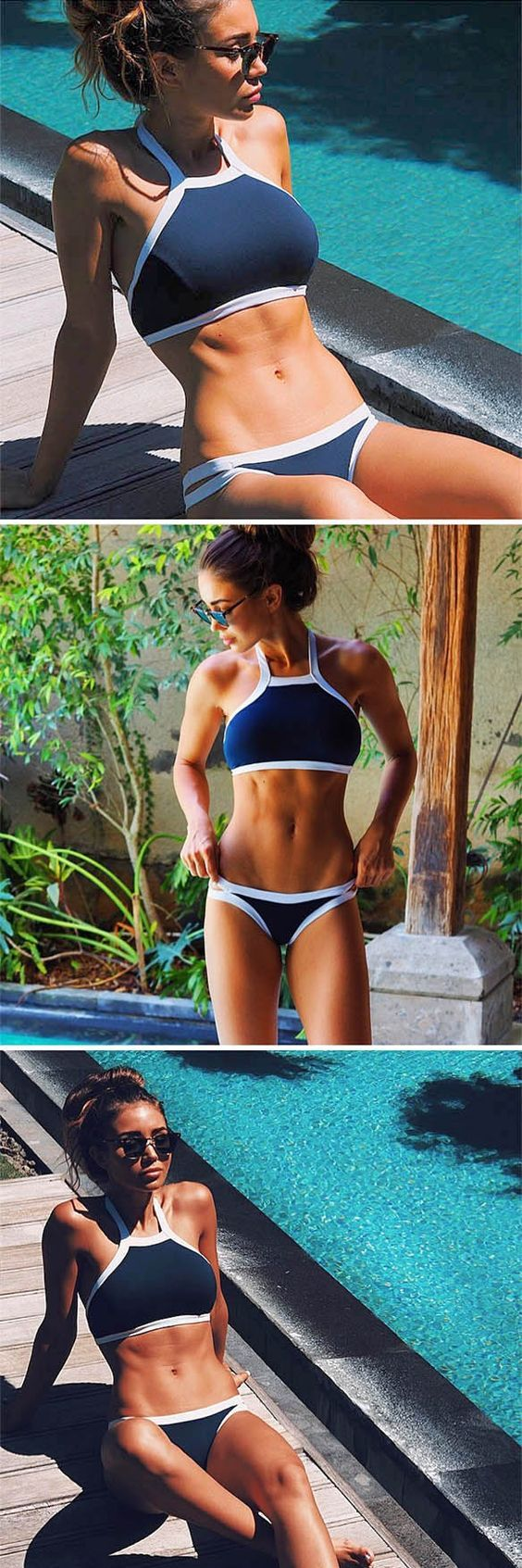 Feel the deep ocean wave in the classy blue and white block bikini sets. With adjustable halter neck, it just make fashion and cozy at same time, Tap the picture and take a look at JASSIELINE.com