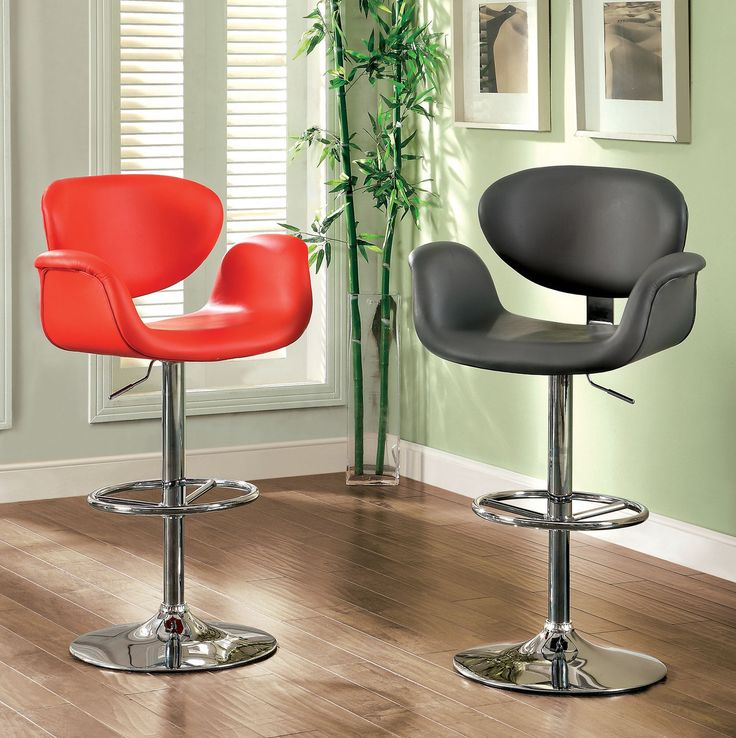 Furniture Of America Height Adjustable Bar Stool -Br6918Rd+Gy