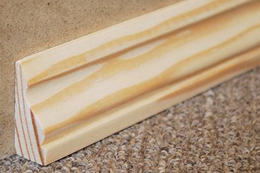 "1 1⁄2"" Decorative Shoe Molding - Solid Pine $1.50 / Foot  http://www.wainscotingamerica.com/design-order/baseboard-molding.php"