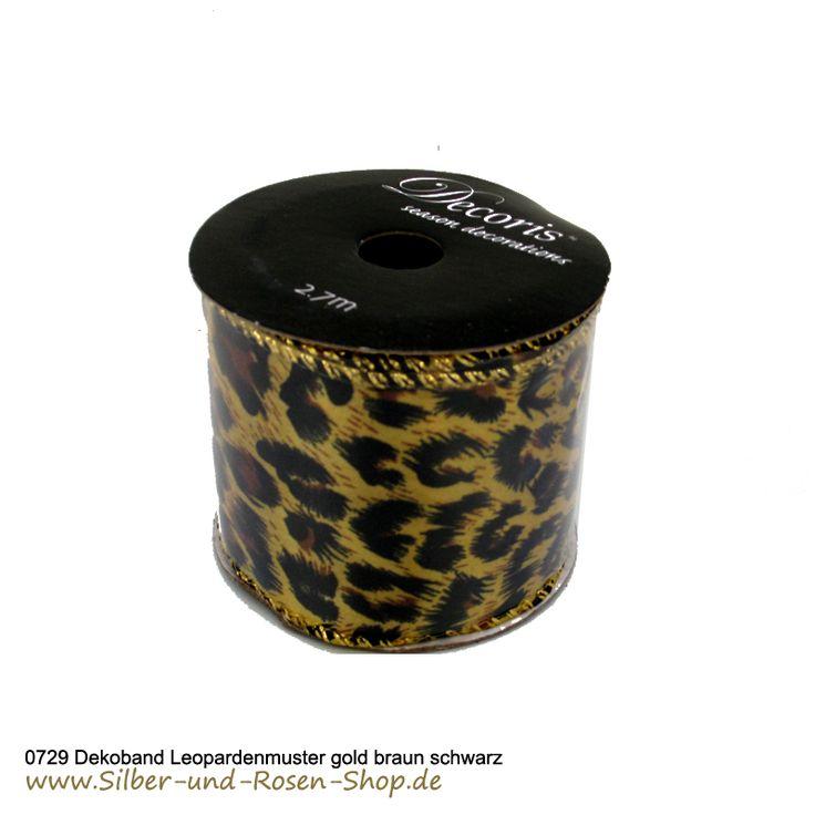 Gold schimmerndes extra breites Schleifenband mit Leopardendruck.  #Paradise #Sunset #Deko