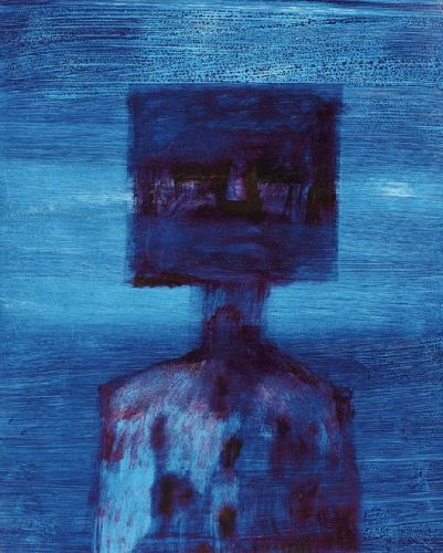 Ned Kelly, by Sidney Nolan, 1964. Oil on paper.